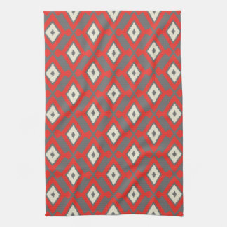 Navajo Ikat Pattern - Red, Grey and Beige Kitchen Towel