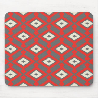 Navajo Ikat Pattern - Red, Grey and Beige Mouse Pad
