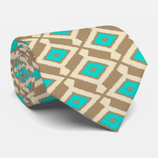 Navajo Ikat Pattern - Turquoise, Taupe and Beige Neck Tie