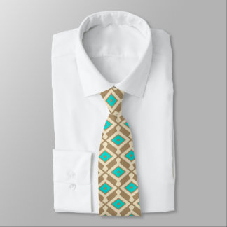 Navajo Ikat Pattern - Turquoise, Taupe and Beige Tie