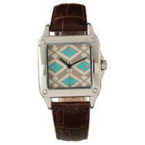 Navajo Ikat Pattern - Turquoise, Taupe and Beige Watch
