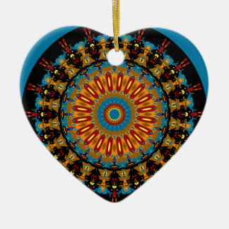 Navajo Inspired Design No. 4 Double-Sided Heart Ceramic Christmas Ornament