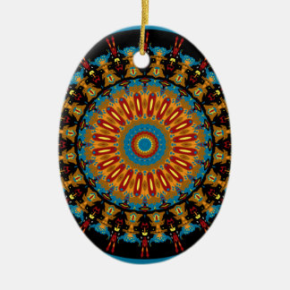 Navajo Inspired Design No. 4 Double-Sided Oval Ceramic Christmas Ornament