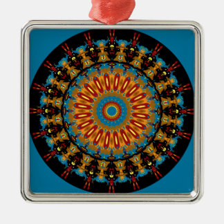 Navajo Inspired Design No. 4 Square Metal Christmas Ornament