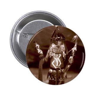 Navajo man in ceremonial dress button