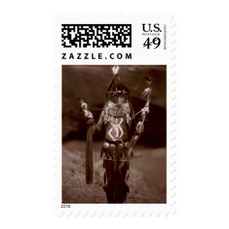 Navajo man in ceremonial dress postage stamps