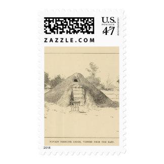 Navajo medicine lodge view postage stamp