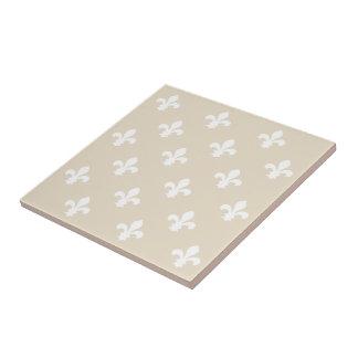 Navajo Neutral Fleur de Lys Small Square Tile