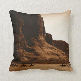 """Navajo Riders"" -- Edward S. Curtis (1904) Throw Pillow"