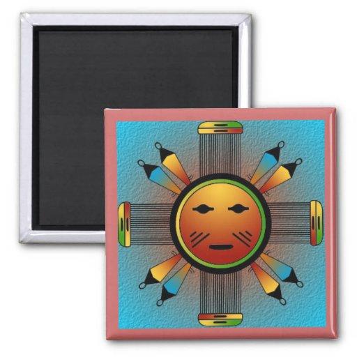 Navajo Sun Face 2 Inch Square Magnet