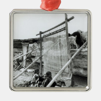 Navajo weavers, c.1914 square metal christmas ornament