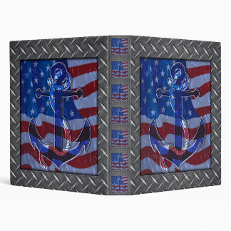 Naval American Flag and Anchor 3 Ring Binders
