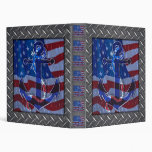 Naval American Flag and Anchor Vinyl Binder