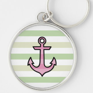 Naval Anchor and Stripes - Black Green Pink Keychain