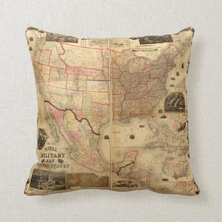 Naval and Military Map of the United States (1862) Throw Pillows