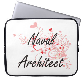 Naval Architect Artistic Job Design with Hearts Laptop Computer Sleeves