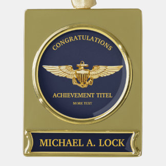 Naval Aviator / Wings of Gold Custom Gold Plated Banner Ornament