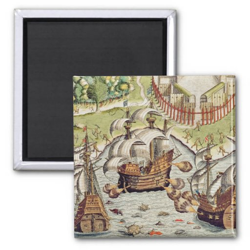 Naval Battle between the Portuguese and French Fridge Magnet