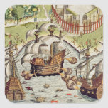 Naval Battle between the Portuguese and French Square Stickers