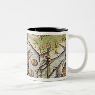 Naval Battle between the Portuguese and French Two-Tone Coffee Mug