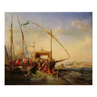 Naval Battle of Imbre in 1346, 1842 Poster