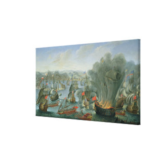 Naval Battle with the Spanish Fleet Canvas Print