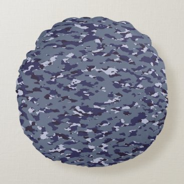 Naval Camouflage Round Pillow