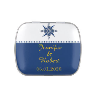 Naval Compass Rose in Navy and Yellow Wedding Jelly Belly Tins