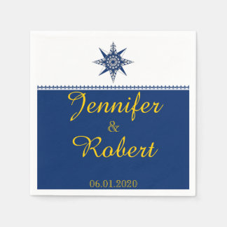 Naval Compass Rose in Navy and Yellow Wedding Standard Cocktail Napkin