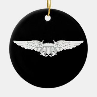 Naval Flight Officer Wings (NFO) - White Double-Sided Ceramic Round Christmas Ornament