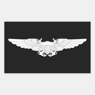 Naval Flight Officer Wings (NFO) - White Rectangular Sticker