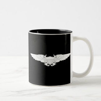 Naval Flight Officer Wings (NFO) - White Two-Tone Coffee Mug