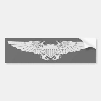 Naval Flight Officer Wings - Silver Bumper Sticker