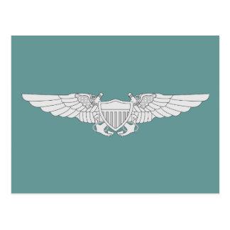 Naval Flight Officer Wings - Silver Postcard