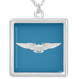 Naval Flight Officer Wings - Silver Square Pendant Necklace
