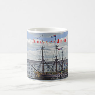 Naval frigate, moored to the pier in Amsterdam. Coffee Mug
