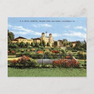 Naval Hospital, Balboa Park, San Diego Vintage postcard