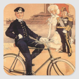 Naval officer on a bicycle square sticker