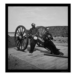 Naval Officers on a Cannon in Charleston SC 1865 Posters