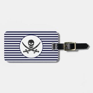 Naval Pirate Skull and cross bones Bag Tag