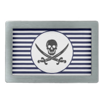 Naval Pirate Skull and cross bones Rectangular Belt Buckle