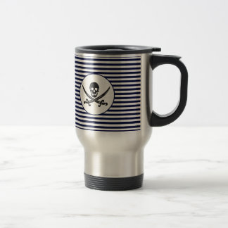 Naval Pirate Skull and cross bones Travel Mug