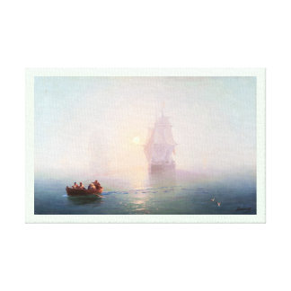 Naval Ship Ivan Aivazovsky seascape waterscape sea Stretched Canvas Prints