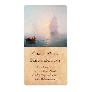 Naval Ship Ivan Aivazovsky seascape waterscape sea Shipping Label