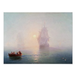 Naval Ship Ivan Aivazovsky seascape waterscape sea Poster
