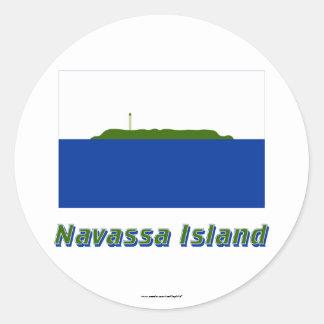 Navassa Island Flag with Name Round Stickers