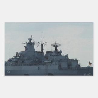 nave alemana pegatina rectangular