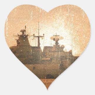 Nave alemana pegatina en forma de corazón