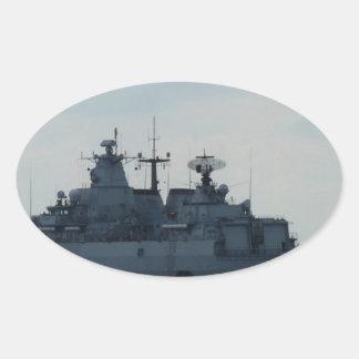 nave alemana pegatina ovalada