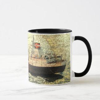 Nave Algontario y vieja carta del lago Hurón Taza